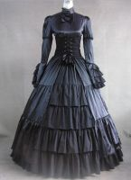 Long Sleeves Black Gothic Victorian Style Gown by jdoris009