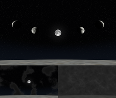 Night sky with posable moon for XNALara/XPS by dasliebesverbot