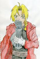 Edward Elric colored with watercolors by tigernose123