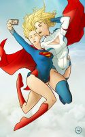 Supergirl and Powergirl by AndrewKwan