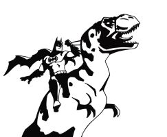 More T-Rex Batman by RobtheDoodler