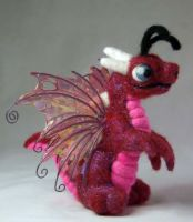 Needle Felted Red Fairy Dragon by The-GoblinQueen
