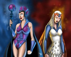 Evil Lyn and Sorceress by nedesem