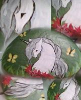 Unicorn - Painted on Rock by Demiie
