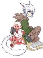 The lalafell and her cat. by Taranari