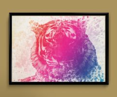 Tiger watercolor print by ColourInk