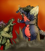 Godzilla vs spacegodzilla by Jazon19