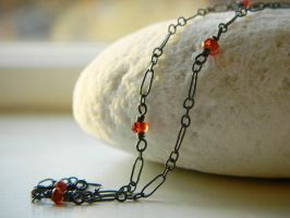 Garnet Wire-wrapped Necklace, Oxidized Silver by QuintessentialArts