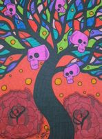 Colorful Tree and Skulls by ToniTiger415