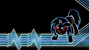 Vinyl Scratch Glow Wallpaper No Glasses by SmockHobbes