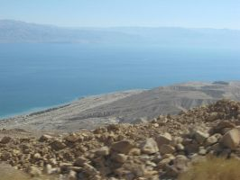 view of dead sea from desert by Roooskiii69