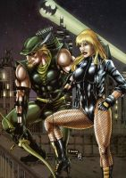 GREEN ARROW  AND BLACK CANARY (colors) by FantasticMystery
