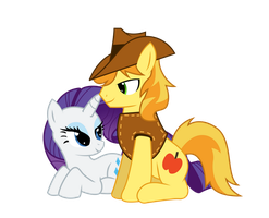 Rarity and Braeburn by ShadyHorseman