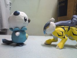 Oshawott vs. Raikou by riolushinx