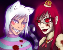 Cat and Blood Red Queen by PicturePixie