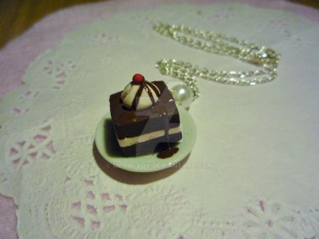 Chocolate cakes with cherries by Meow-Box