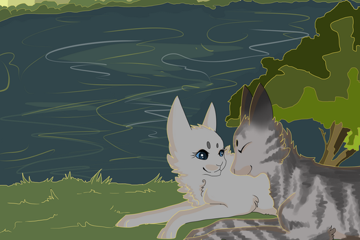 Dovewing and Bumblestripe: By the Lake by Nharlie