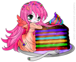 Rainbow Cake Luna by pink-marshmallows