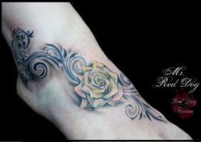 Foot Rose by Reddogtattoo