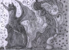 pencil drawing Surreal World - Birthday present by Leny97
