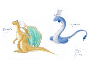 Dragonair and Dragonite by Weirda208