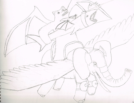 Shark-wielding bear riding an armoured elephant by QuartzHammer