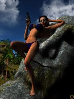 LARA ON A MOAI by lordcoyote