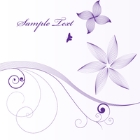 Vector Floral Background with Line Art Flowers by 123freevectors