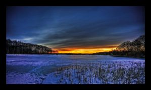 Frozen Lake - Sunset HDR by SorenWrang
