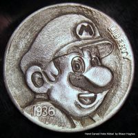 Super Mario Carved Coin by Shaun Hughes by shaun750