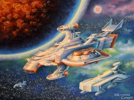 Fantasy Space Ships by Kristina-Goupil