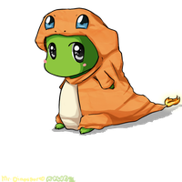 Mr. Dinosaur in a Charmander hoodie by Jewieee
