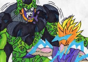 SSJ2 Gohan punching Cell by ChahlesXavier