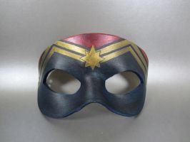 Captain Marvel inspired leather mask by maskedzone