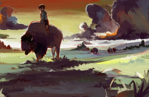 Him and the Bison by ashwara