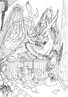 Lineart: ghost and dragon by kxeron