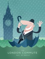LONDON COMMUTE - No3 : BY BROLLY by middlewick