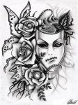 Mask and roses by 9Rayne2
