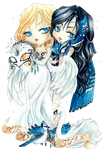 - Birds Mascarade - Chibi Swan and Chibi Blue Jay by ooneithoo