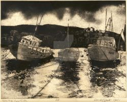 Staithes Etching by RandySprout
