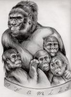 Gorilla Family by Yoell