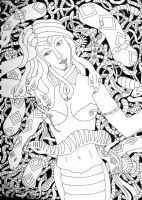 Medusa with snakes BW by moatswimmer-inugrl