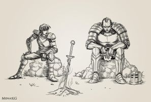 Dark Souls: Chosen Undead and Tarkus by MenasLG