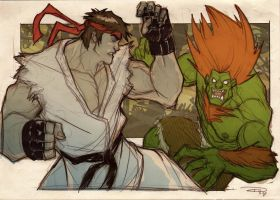 Ryu VS Blanka by DenisM79