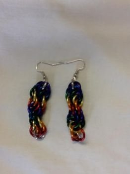 double rainbow spiral earrings by ArcMoonblade