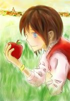 Girl and Apple by GinSoul