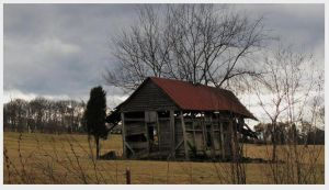 The Coming Storm - Falling Barn - O Niles Ferry Rd by CrystalMarineGallery