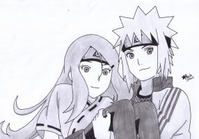 Minato and Kushina (Naruto) by BlackStarLGArt
