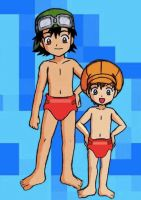 Diapered Takuya and Tommy 'red diapers' by drwhovian101