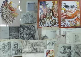 Photo combo of Incendio artbook by darkn2ght